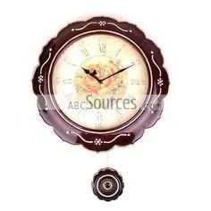 China Wholesale Resin Decorative Wall Clocks, Pendulum Clock, Round Antique Clock (35cm)