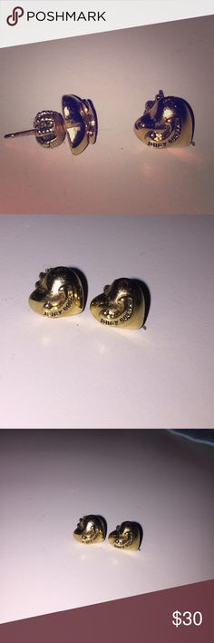 juicy couture earrings Gold heart shaped juicy couture earring studs. Barely worn, thoroughly cleaned with jewelry cleaner. Juicy Couture Jewelry Earrings