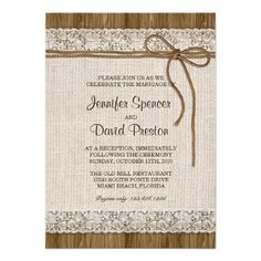 Rustic Burlap & Lace Wedding Reception Invitation #Wedding #Reception #Rustic #Burlap