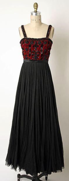 Evening dress, Designer: James Galanos (American, born Philadelphia, Pennsylvania, 1924) Date: 1952 Culture: American Medium: silk, glass