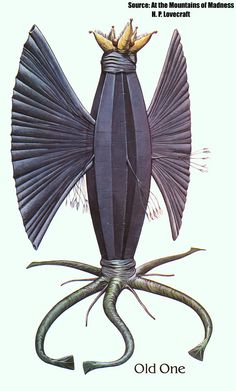 """Wayne Barlowe's conception of an Elder Thing (from Barlowe's Guide to Extraterrestrials). Links to article """"The influence of Haeckels plate 90 on Lovecraft and Giger"""" Hp Lovecraft, Lovecraft Cthulhu, Wayne Barlowe, Science Fiction, Mountains Of Madness, Call Of Cthulhu Rpg, Giger Alien, Alien Life Forms, Lovecraftian Horror"""