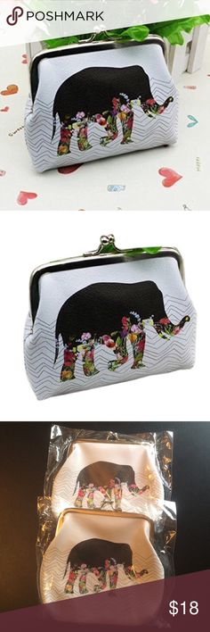 """Adorable elephant coin purse Super cute elephant card holder, wallet, change purse. PU leather. Silver color hardware. Approx 4.7x3.9"""". Only available in white (as shown). boutique Bags Wallets"""
