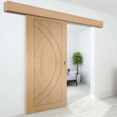 Thruslide Surface Treviso Oak Flush Panel - Sliding Door and Track Kit - Prefinished - Lifestyle Image.    #contemporarydoors #moderndoors
