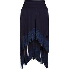 Keana Metallic Fringe Bandage Skirt (191,675 PEN) ❤ liked on Polyvore featuring skirts, bandage skirts, fringe skirts, blue skirt, metallic skirt and blue metallic skirt