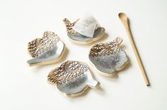 Tea Bag Holder, Tea Bag Rest, Set of Four, Ceramics and Pottery, Teapot Shape