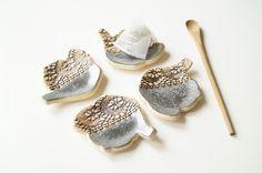 Tea Bag Holder Tea Bag Rest Set of Four Ceramics and by bemika