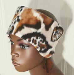Pattern Fleece Headband, Pattern Fleece Earmuffs, Animal Print Ear Warmer, Brown Pattern Earmuffs, Winter Ear Warmers, Fleece Ear Cover by StephFleeceDesigns on Etsy