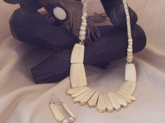 Tribal African Fan Necklace and Earring Set with Matching Wood Bracelet