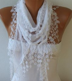 .White, Scarf (13.50 USD) -- Free Scarf on ETSY