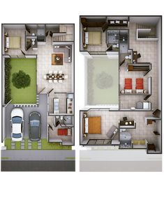 House Layout Plans, Duplex House Plans, Dream House Plans, Small House Plans, House Layouts, House Floor Plans, 3 Storey House Design, Small House Design, Modern House Design