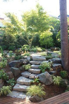 Landscape Japanese Design, Pictures, Remodel, Decor and Ideas - page 23 Rock Garden Design, Japanese Garden Design, Japanese Landscape, Small Garden Design, Contemporary Landscape, Hillside Landscaping, Landscaping With Rocks, Landscaping Ideas, Landscape Walls