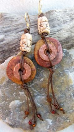 Earthy Disk Earrings with Copper Washers by DesertWindDesigns