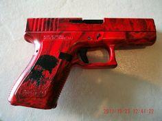 sexy red and black wolf glock 19 Arte Com Grey's Anatomy, Backyard Fort, Armas Ninja, Revolver Pistol, Hydro Dipping, Gun Art, Custom Guns, Outdoor Store, Hunting Rifles