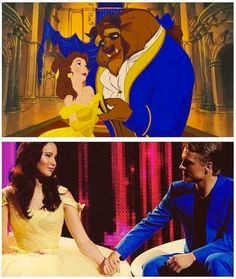 """The Hunger Games: Cinna dressed Katniss and Peeta up as Belle and the Beast from """"Beauty and the Beast"""""""