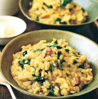 Spinach and Porcini-Mushroom Risotto  Andrew What do you think of this for dinner with Becky?