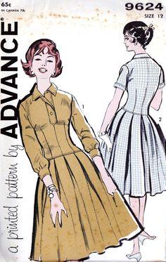 "1960s Misses Drop Waist Dress Vintage Sewing Pattern, Full Skirt, Pleated Skirt, Advance 9624 bust 32"" uncut. $10.00, via Etsy."