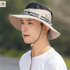 70b09d04213 Letter sun bucket hat for men summer outdoor UV fishing hats with string