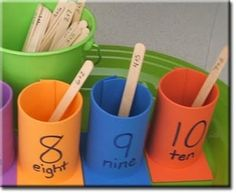 Math - Addition Cups made from foam sheets and craft sticks. It makes a fun math game. **Could do something similar with place value for high grades! Math Stations, Math Centers, Math Resources, Math Activities, Number Bonds Activities, Addition Activities, Teaching Math, Kindergarten Math, Ks1 Maths
