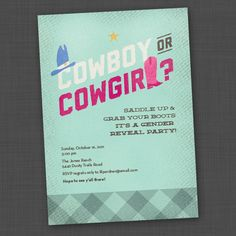 Gender Reveal Party Invite - Cowboy or Cowgirl $15