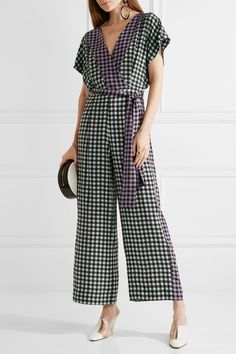 c135bd3788 DIANE VON FURSTENBERG attractive Gingham silk crepe de chine jumpsuit