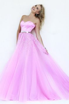 Sexy A-Line Tulle Floor-Length Pink Long Prom Dresses