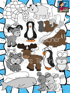 Arctic Animal Friends Clipart Bundle from tongassteacher on TeachersNotebook.com (26 pages)  - Brrrr! This 26 piece clipart bundle features a variety of arctic animal graphics! The bundle includes stitched snowy owl, a puffin, penguin, seal, beluga whale, rabbit/snowshoe hare, walrus, mountain goat, moose, polar bear, wolf/husky and an igloo! It in