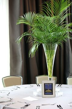Palm centerpiece every other table for eye movement (other tables have floating candle centerpieces)