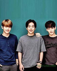 The cute trio. #Baekhyun #Xiumin #Chen #EXOLove   Be sure to check out our bio link for more EXO news/photos/etc