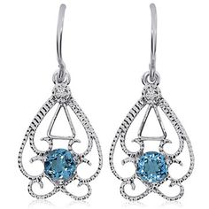 14K White Gold Round Open Filigree Blue Topaz & Diamond Earrings (8,970 MXN) ❤ liked on Polyvore featuring jewelry, earrings, diamond jewellery, 14 karat gold diamond earrings, 14k white gold earrings, blue topaz earrings and 14k diamond earrings