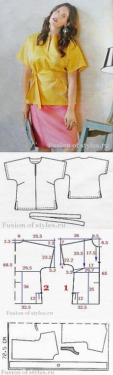 Туника большого размера с цельнокроеными рукавами | Fusion of Styles