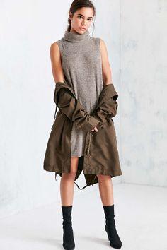 Silence + Noise Sage Cozy Turtleneck Mini Dress - Urban Outfitters