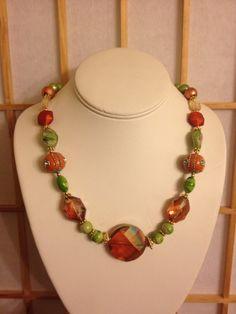 Citrus Orange chunky necklace
