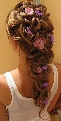 love the pink and purple flowers in the hair  but change to orange and red