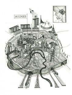 """Moscow, drawing by Gibb, 2012 / Anna Gibb – Courtesy of the British Council, part of the Venice Biennale 2012: British Pavilion presents """"Venice Takeaway"""""""