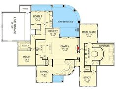 Plan 36529TX - Classically Beautiful Traditional House Plan. 4 bedrooms, 4 full and 1 half bath, 5165 sq ft.
