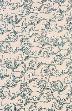 This would make for some really fun wallpaper, just along one wall so as not to be too busy.  You could color 3 or 4 horses to bring together other colors in the room. -Erica