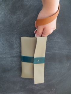 Taupe & Blue Leather Wristlet // Blue Leather Stripe by Stitch803, $32.00