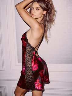 Satin Low-back Slip in Red Roses $49.50- Very Sexy - Victoria's Secret