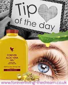 **TIP OF THE DAY!** Lengthening Eyelash Serum - Fill an empty jar with 1/4 Aloe Vera Gel (lengthen lashes) - 1/4 of the jar with Castor Oil (thicken lashes) - 1/4 of the jar with Vitamin E Oil (lengthen & nourish lashes) Mix all the ingredients until well blended. Using a clean mascara wand, dip into the mixture and apply to clean lashes just like you would apply mascara. Do this before you go to bed so it can sit through the night.  http://www.healeraloe.flp.com/