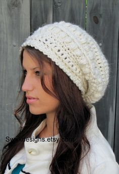Alpaca Wool Slouchy Hat - Slouchy Bobble Beanie - Winter White or CHOOSE Your color - Handmade    $39