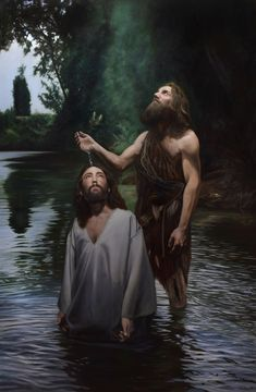 Jesus is baptized in Luke John baptized Jesus in the dessert. There is a lake in the desert. John is more commonly known as John the Baptist. Pictures Of Jesus Christ, Religious Pictures, Jesus Art, God Jesus, Religious Paintings, Religious Art, Baptism Of Christ, Bible Illustrations, Jesus Painting