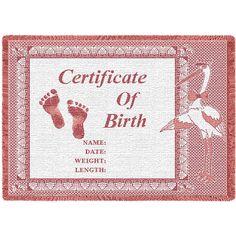 Birth Certificate Mini Art Tapestry Throw, Pink
