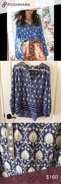 Spell and the Gypsy oracle indigo blouse Beautiful spell blouse, perfect condition! No flaws. Has metallic silver threads weaved in the blouse as well. Size xs but it's a generous loose fit. Can fit up to a large in my opinion. ❌ NO TRADES❌ Spell & The Gypsy Collective Tops Blouses