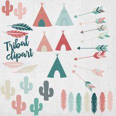 Tribal clipart arrows cactus teepee feather dots от PetitePrune