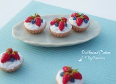 SALE  Dollhouse miniature food  Fresh berry tarts by Cutetreats, $18.95