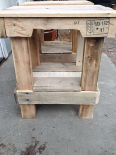 Night stand made from pallets.