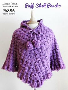 PA886-R Puff Shell Poncho Crochet Pattern by Maggie Weldon. $8.11. 7 pages. Publisher: Maggie's Crochet (February 25, 2013)