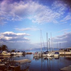 #Greece #port #blue #sky #landscape