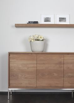 This Ethnicraft Teak Wall Shelf, crafted from FSC certified Teak, is the perfect solution for extra shelving needs. Crafted with simple, clean lines, they can be aligned or stacked on wall in your preferred combinations to match any interior. Teak Furniture, Living Room Furniture, Living Room Decor, Furniture Design, Living Rooms, Teak Sideboard, Credenza, Teak Plywood, Room Interior Design