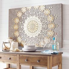Handcrafted of capiz shell, glass mirror and hardwood, our stunning medallion wall panel will set a tone of understated elegance in your home. It& perfect for an entryway, living area or any other place you want to make an impression. Diy Wall Art, Wall Art Decor, Room Decor, Wooden Wall Panels, Wooden Walls, Doily Art, Doilies Crafts, Diy Furniture, Home Accessories